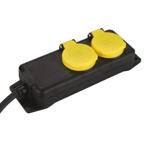 UNITEC 47550 FR-tafelstopcontact, IP44,2f,1,5m, H07RN-F3G1,5mm2, sw/ge