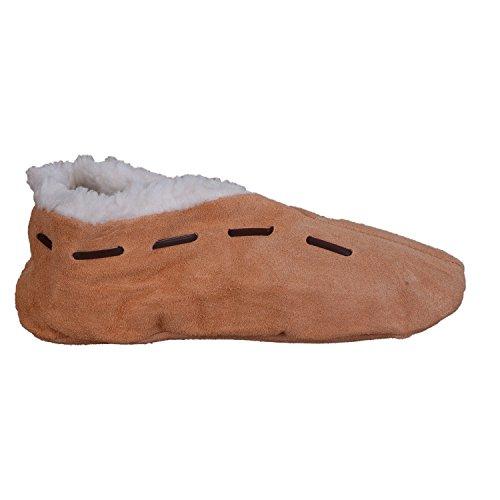 Lammfell-Hausschuhe   Damen & Herren   gefüttert   Leder-Puschen   Warmes Futter aus Lammfell-Imitat   Winter-Pantoffeln   extra warm & weich