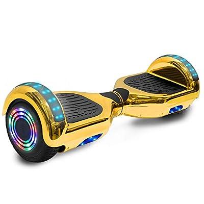 cho Electric Hoverboard Smart Self Balancing Scooter Hover Board Built-in Speaker LED Wheels Side Lights for Kids- Safety Certified (-Chrome Gold)
