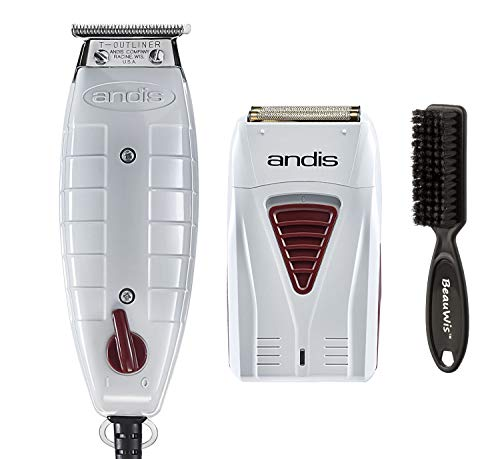 Andis Professional Finishing Combo, T-Outliner Beard/Hair Trimmer with T-Blade, Gray, Model GTO - Cordless Mens Lithium Battery Titanium Foil Shaver (17195) - Bundled with BeauWis Brush