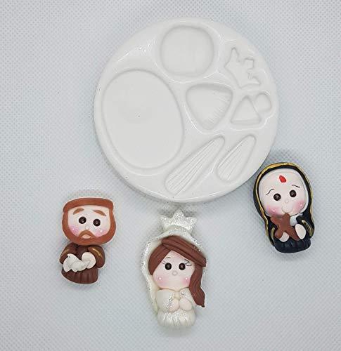 Moldes silicona Santos virgen apliques porcelana fría fimo manualidades ✅