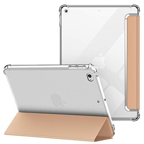 VAGHVEO Funda para 2018/2017 9.7 Pulgadas, iPad Air 1/2 Cover Ultra Delgada Flexible Función de Soporte Protectora Plegable Cubierta Transparente TPU, Resistente a Impactos Suave Carcasa, Oro