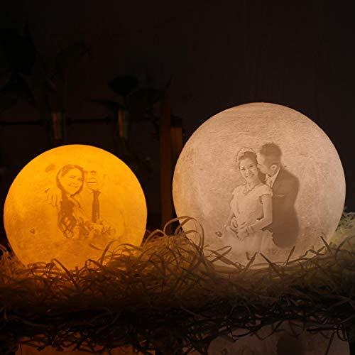 Regalos de lámpara de luna únicos impresos en 3D personalizados, personalizados con soporte grabado con imagen Regalos para cumpleaños, bodas, día de San Valentín, regalo romántico 7.1 3 colores