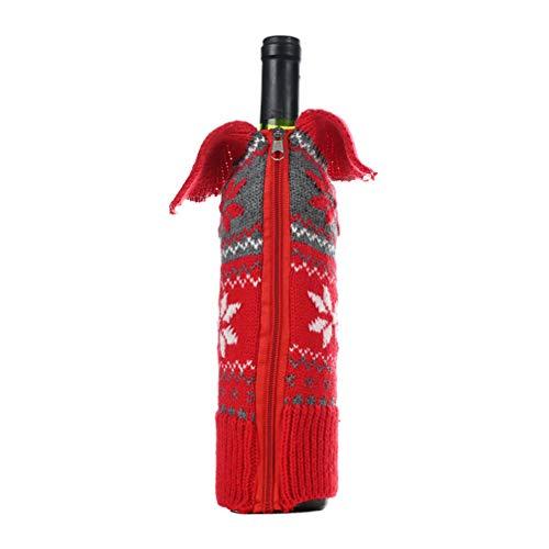 Amosfun Lelijke Trui Kerstmis Wijnfles Covers Vakantie Wijnfles Doek voor Kerstmis en Nieuwjaar Decoratie 1 pcs Afbeelding 2