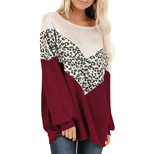 TEELONG - Camiseta de manga larga para mujer, diseño de leopardo, manga larga, cuello o suelto, informal, para mujer, camisetas, blusa holgada, ropa cómoda