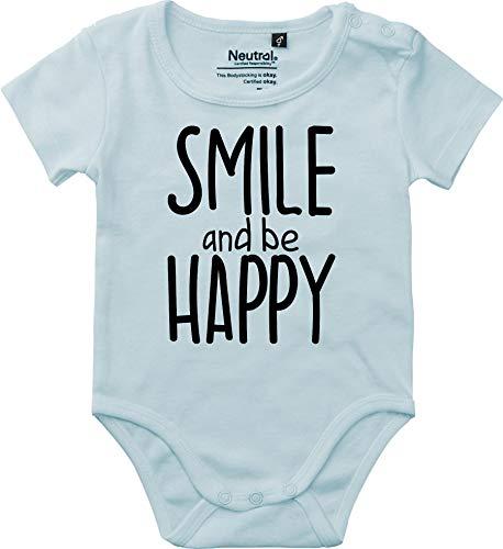 Kleckerliese T-Shirt à Manches Courtes pour bébé garçon Motif Smile and be Happy - Bleu - 18 Mois