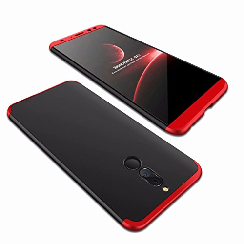 AILZH Funda Huawei Mate 10 Lite Cubierta 360 Grados Caja protección de cáscara Dura Anti-Shock Anti-rasguño del Protector Completo del Cuerpo 360°Caso Mate(Rojo Negro)