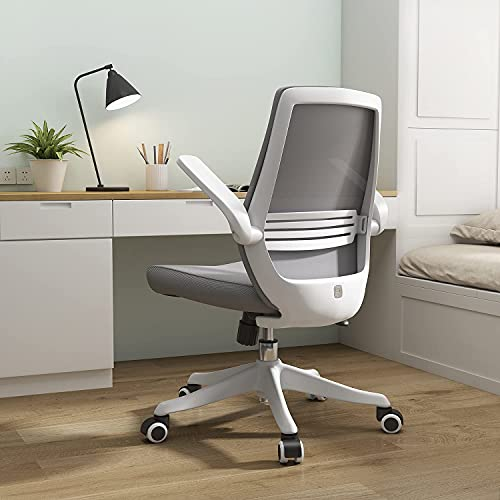SIHOO Ergonomic Office Chair, Swivel Desk Chair Height Adjustable Mesh Back Computer Chair with Lumbar Support, 90° Flip-up Armrest (Grey)