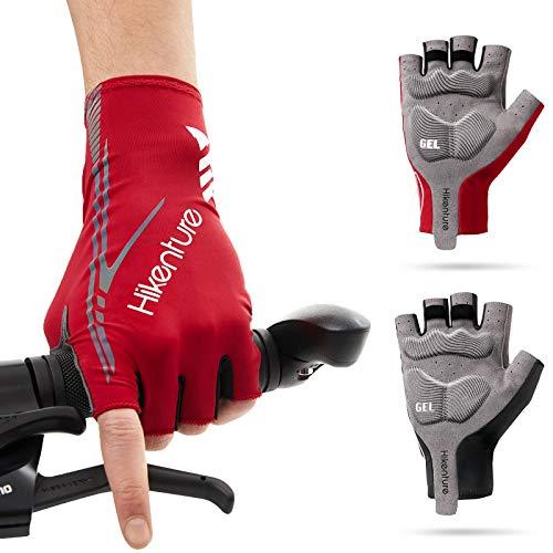 HIKENTURE Guantes de ciclismo para hombre y mujer, de verano, para bicicleta de medio dedo, para tiempo libre, para carreras, para bicicleta de montaña o BMX, guantes cortos de ciclismo R-M