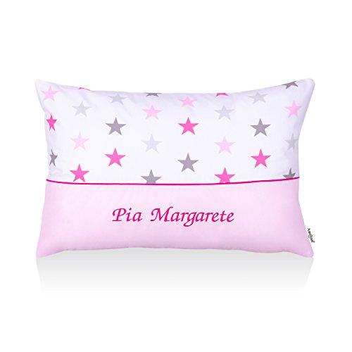 *Amilian® Kissen 40 x 60 cm mit Namen Datum Personalisiertes Kissen Geschenk zur Geburt Sternchen groß Rosa/Hellrosa*