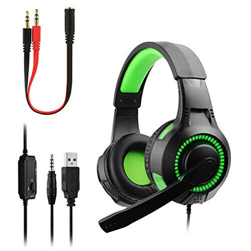 HNQH Gaming Headset, Gaming Headset con micrófono con cancelación de Ruido, Lightweight Gaming Headphones para PC Laptop PS4 Slim Pro Xbox One