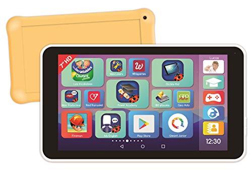 Lexitab Master – Tablet für Kinder 7 Zoll (17,8 cm) mit Lern-Apps, Spiele und Steuerung der Eltern – Schutzhülle inklusive – Android, WLAN, Bluetooth, Google Play, YouTube, weiß/gelb, MFC149FR