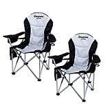 KingCamp Camping Chair with Lumbar Back Support, Padded Folding Chair with Cooler, Armrest, Cup Holder, Oversized Quad Camp Chair Heavy Duty, Supports 350 lbs, Black-2 Pack