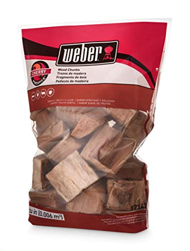 Weber 17142 Cherry Chunks, 350 cu. in. (0.006 Cubic Meter), 4 lb, Natural Wood Color