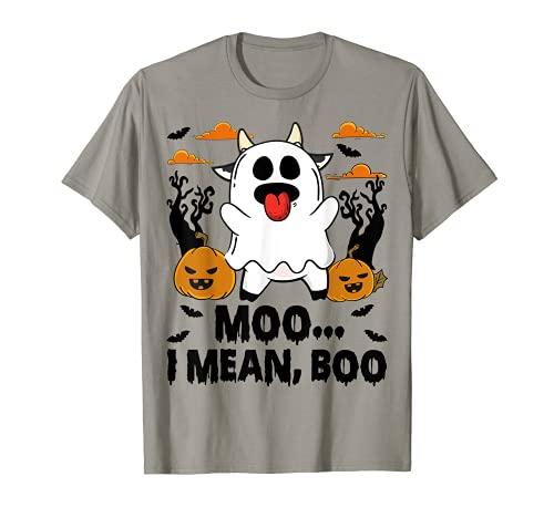 Moo I Mean Boo Pumpkin Halloween Ghost Cow Lover Funny T-Shirt