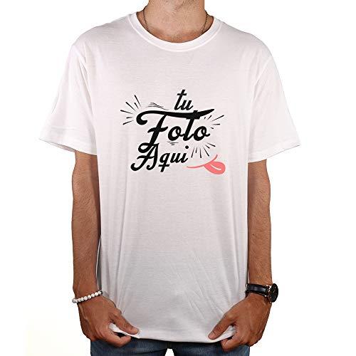 PROMO SHOP Camiseta Personalizada Hombre (Foto o Logo) Blanca · Manga Corta Talla L · 100% Algodón · Impresión Directa (DTG) · Estas Camisetas Personalizas Se Imprimen Directamente sobre el Tejido