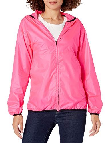 Amazon Essentials Women's Standard Full-Zip Packable Windbreaker, Bright Pink, Medium