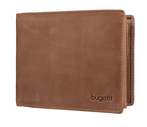 Bugatti Volo Geldbörse Herren Leder – Portemonnaie Herren Querformat Cognac – Geldbeutel Portmonee Wallet Brieftasche Männer Portmonaise