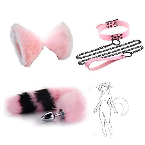 Rosa Negro Party Toys Juego de Roles B-ütt P-l-ǔ-g Fox Tail Tamaño 3 Diadema con Orejas de Gato Gargantilla de Cuello Medio Cadena de Arrastre Cabeza de Acero Inoxidable Anime Cosplay FHFE