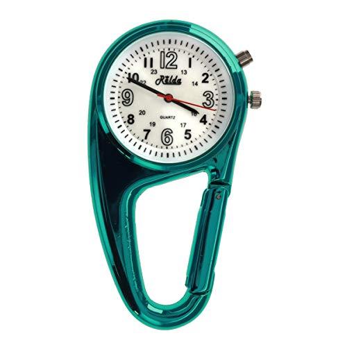 Relda, orologio da tasca con gancio a moschettone e retroilluminazione, per medici, infermieri ecc. Unisex. REL113