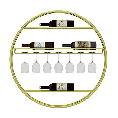 Marco Decorativo De Pared, Perchero Redondo De Metal Para Vino, Para Guardar Botellas Y Copas De Vidrio - ArtíCulos De Oro Para El Hogar