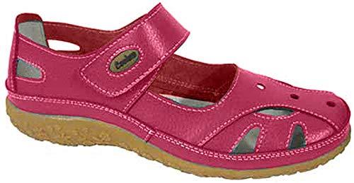 Footwear Studio Coolers Damen Leder Mary Jane Ballerinen Sommerschuhe Schwarze Johannisbeere (Schwarz) EU 38