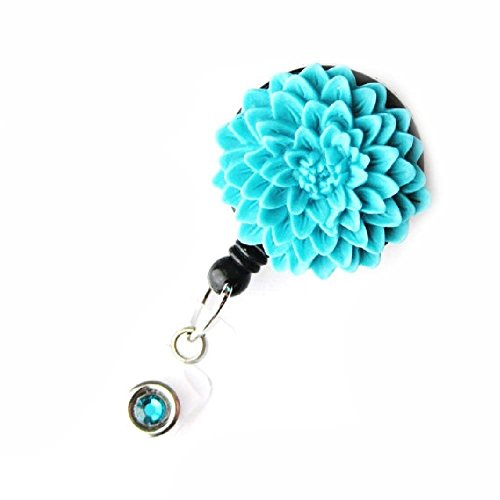 Badge Blooms ID Badge Reel - Flower - Turquoise