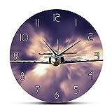 Relojes de pared Military Jet Fighter Reloj de pared moderno Avión volando sobre las nubes Arte de la pared Aviación Aviones decorativos Reloj de pared silencioso Buen regalo para amigos y familiares