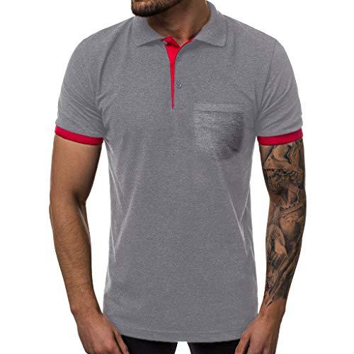 Subfamily- Polo Clásica de Manga Corta para Hombre Premium,Color de Contraste Golf Camisa Poloshirt Negocios Camiseta con Botones Hombre Tennis Verano T-Shirt S-3XL