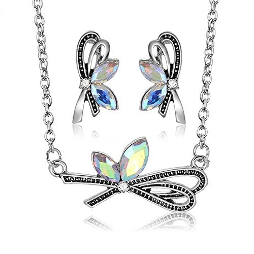 Kudiro Conjunto de collar y pendientes de libélula para mujer es adecuado para regalos o uso diario (plata)