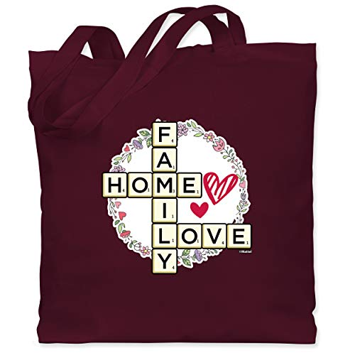 Shirtracer Scrabble Tasche - Scrabble Family - Home - Love - Unisize - Bordeauxrot - Geschenk - WM101 - Stoffbeutel aus Baumwolle Jutebeutel lange Henkel