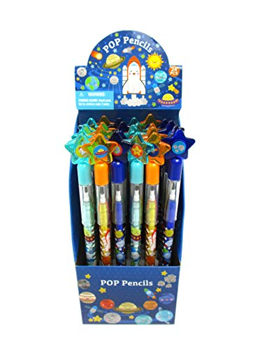 TINYMILLS 24 Pcs Outer Space Rocket Multi Point Pencils