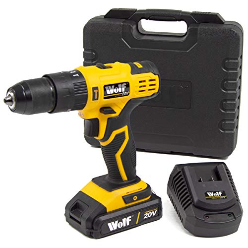 Wolf Cordless 20V Combi Impact Drill 13mm Keyless Chuck with Li-Ion Battery, Charger and Carry Case