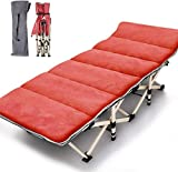 Folding Cot Camping Cot, Folding Camping Bed Outdoor Portable Military Cot, Double Layer Oxford Strong Heavy Duty Wide Sleeping Cots with Carry Bag for Indoor & Outdoor Use (Red with Cotton Mat)