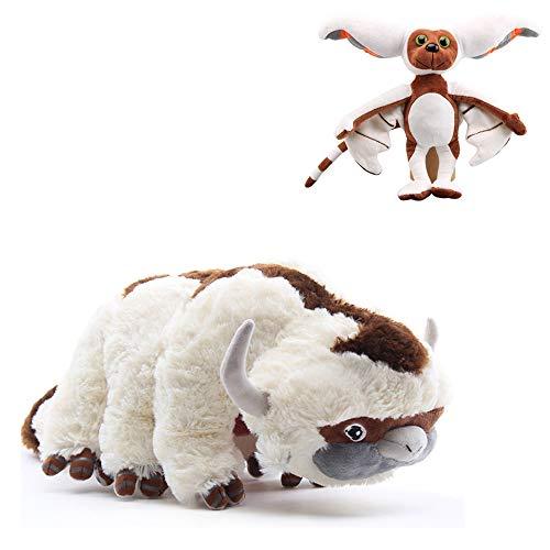 Avatar dernier maître de l'air Appa Momo en peluche doux animaux en peluche poupée de bétail et poupée de chauve-souris pour cadeau d'anniversaire pour enfants (Big Appa + momo)