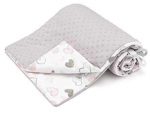 Manta para bebé EliMeli de algodón Minky, manta de algodón para niños, ideal como manta para envolver al bebé, manta para gatear o como regalo de nacimiento gris Grau - Herz