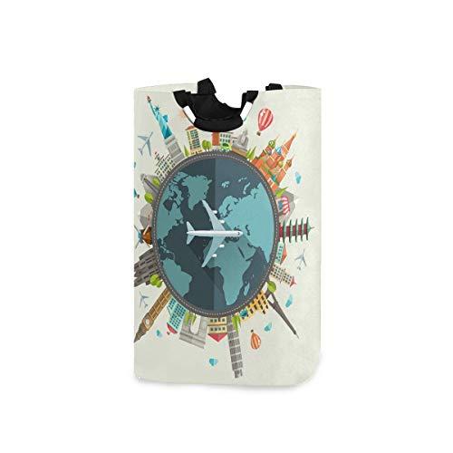 N\A Wäschekorb Faltbarer Eimer kollabiert Wäschekorb Waschbehälter Erde Gebäude Heißluftballon für Heimorganisator Kinderzimmer Lagerung Babykorb Kinderzimmer