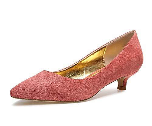 CASTAMERE Zapatos de Tacón Mujer Sexy Medio Mini Tacón Tacón de Aguja 3CM Rojo Pasión Ante Zapatos EU 37