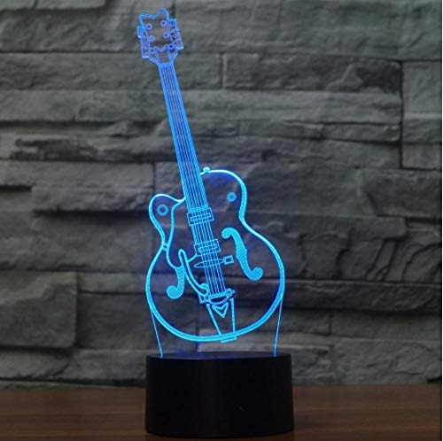 SFALHX Colorful Guitar Touch 3d Lamp Illusion Led Night Light Atmosphere Table Lamp for Children Baby Kids Gift Home Decor