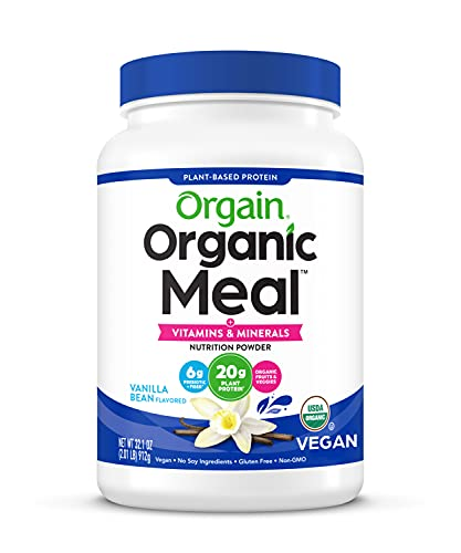 Vegan Protein Meal Replacement Powder by Orgain - Certified Organic and Plant Based, No Gluten, Soy or Dairy, Non-GMO, Vanilla Bean, 2.01lb