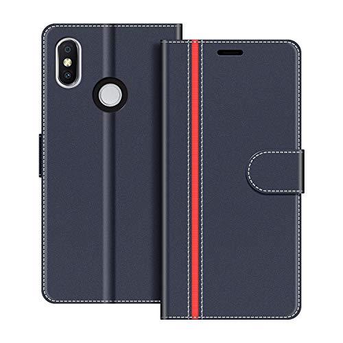 COODIO Handyhülle für Xiaomi Redmi S2 Handy Hülle, Xiaomi Redmi S2 Hülle Leder Handytasche für Xiaomi Redmi S2 Klapphülle Tasche, Dunkel Blau/Rot