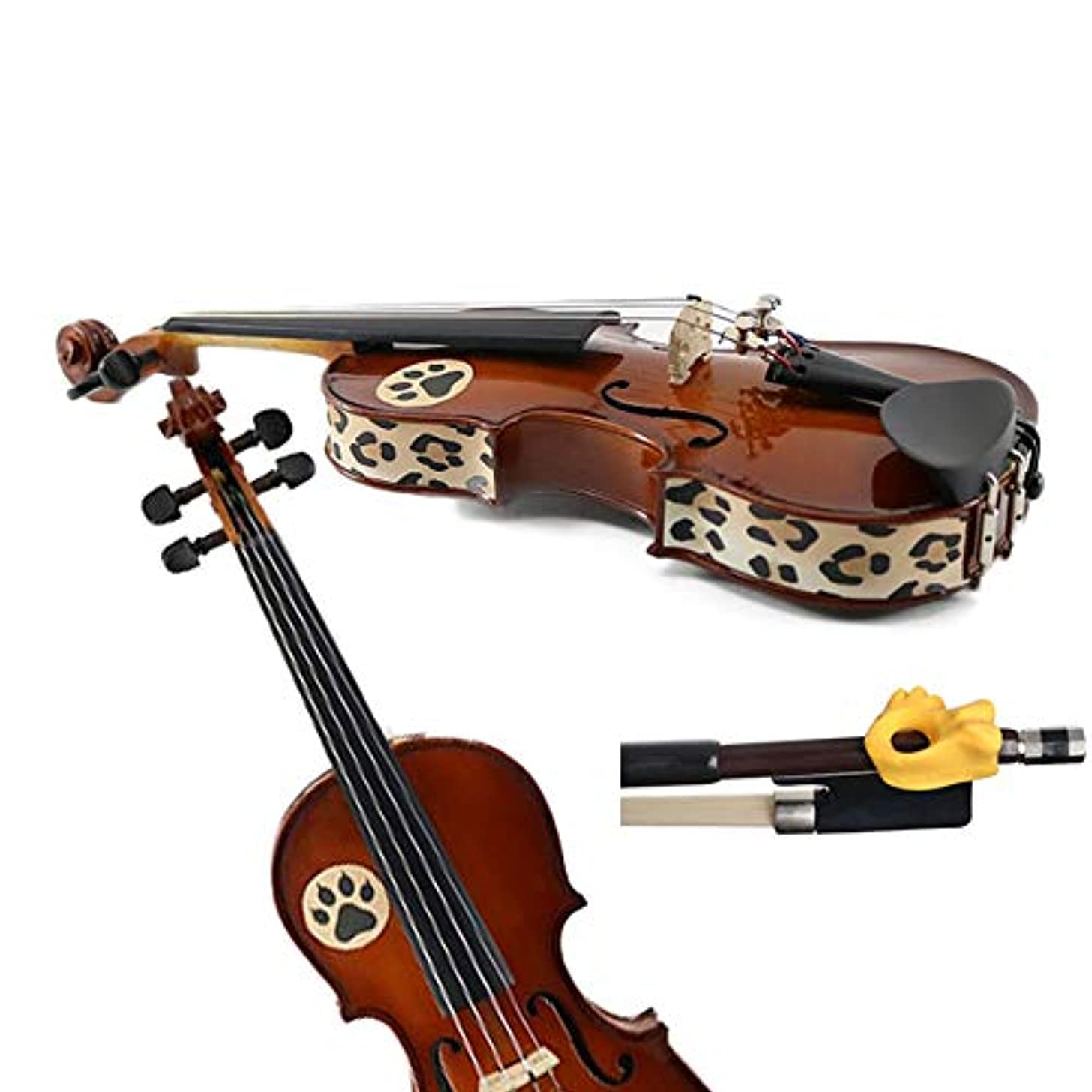 Violin Teaching Aid Pack - Hold Fish Violin Yellow Pinky Support w/Cheetah Violin Skins - Removable Violin Decals - Fits 3/4 Size Violins (Violin not included)