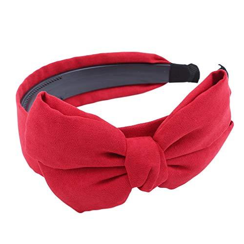LJSLYJ Bandeau Vintage Couleur Unie Bunny Ear Women Bow Accessoires à Tête large Cerceau Tête, Rouge