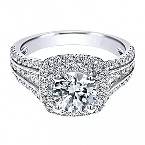 BAJIE Anillo de Boda, Anillo de Diamantes de Platino para Mujer, Anillo Cuadrado de Diamantes de Boda con Piedras Preciosas, Anillo de joyería de Diamantes Blancos para Mujer