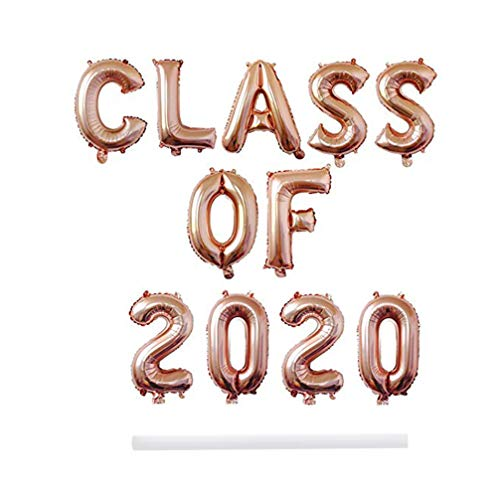 PRETYZOOM Class of 2020 Balloons Banner 16 inch Foil Mylar Balloons for Grad Party Decorations High School College Graduation Party Supplies Prom Decorations Indoor Outdoor Decor (Rose Gold)