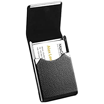 MaxGear Business Card Holder PU Leather Business Card Case Credit Card Holders Wallet Slim Minimalist Name Card Holder RFID Blocking Business Card Carrier for Men or Women Home & Office Black