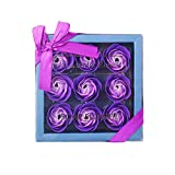 1pack Jabón Del Baño Floral Aroma De Pétalos De Rosa Aceite Esencial De La Planta De Jabón Moldeado Jabón Color De Rosa Set De Regalo Dulce Para El Día, La Madre (púrpura) Higiene Personal Care