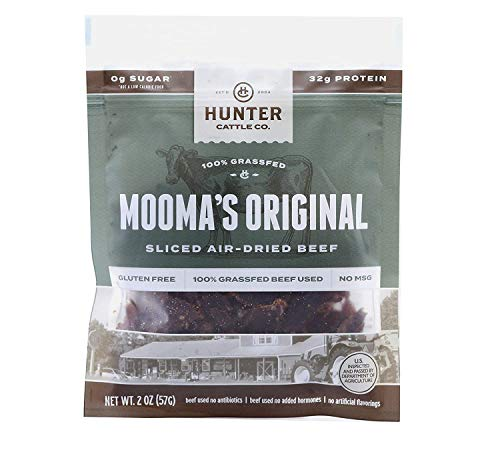 HUNTER CATTLE CO. EST'D 2004 HC 100% Grass Fed Beef Jerky - Mooma's Original Jerky 2 Pack – Dry Aged Biltong Keto Jerky - Made in USA - Paleo, No Sugar Added Healthy Snacks