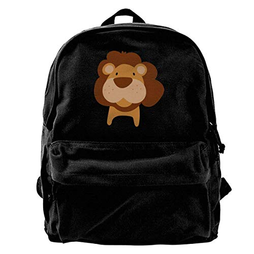 Yuanmeiju School Travel Backpack, Classic Canvas Backpack Lion Head Unique Print Style,Fits 14 Inch Laptop,Durable,Black