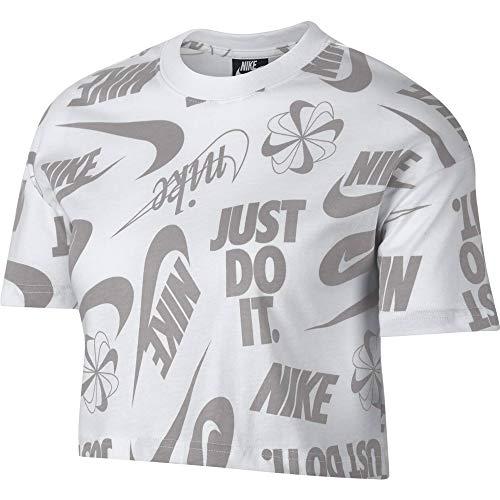 Nike Damen Essential Top Short-Sleeve Crop Wild Oberteil, White/Atmosphere Grey, XS